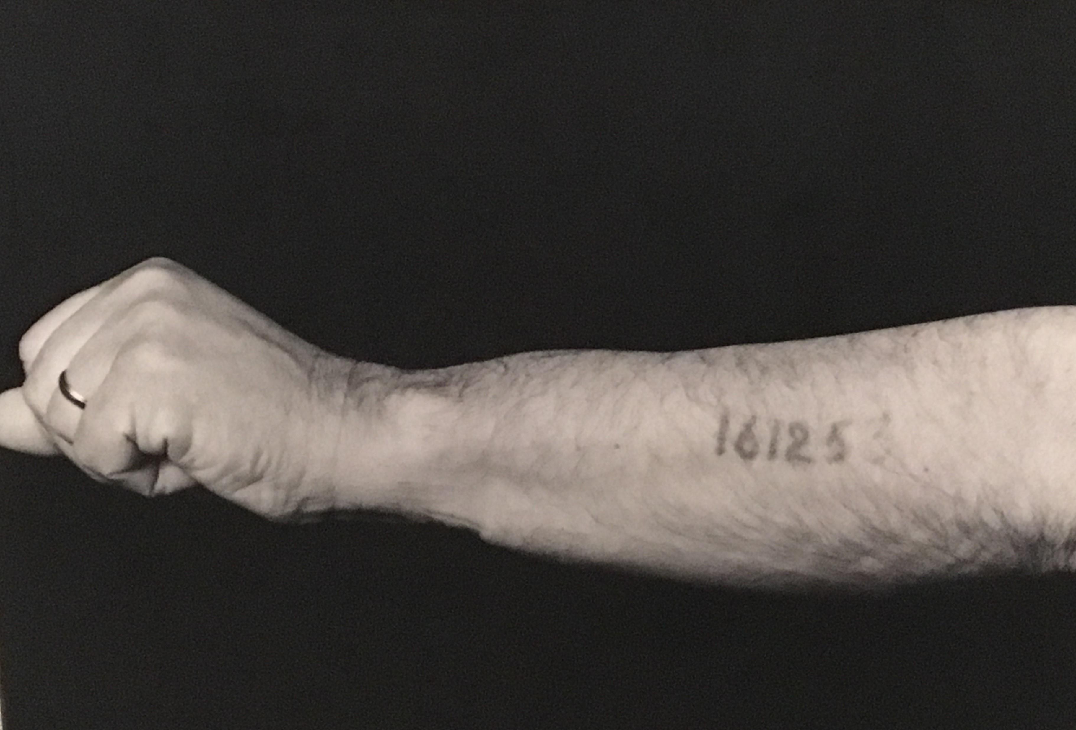 Pincus Kolender - Identification number branded on him in Auschwitz