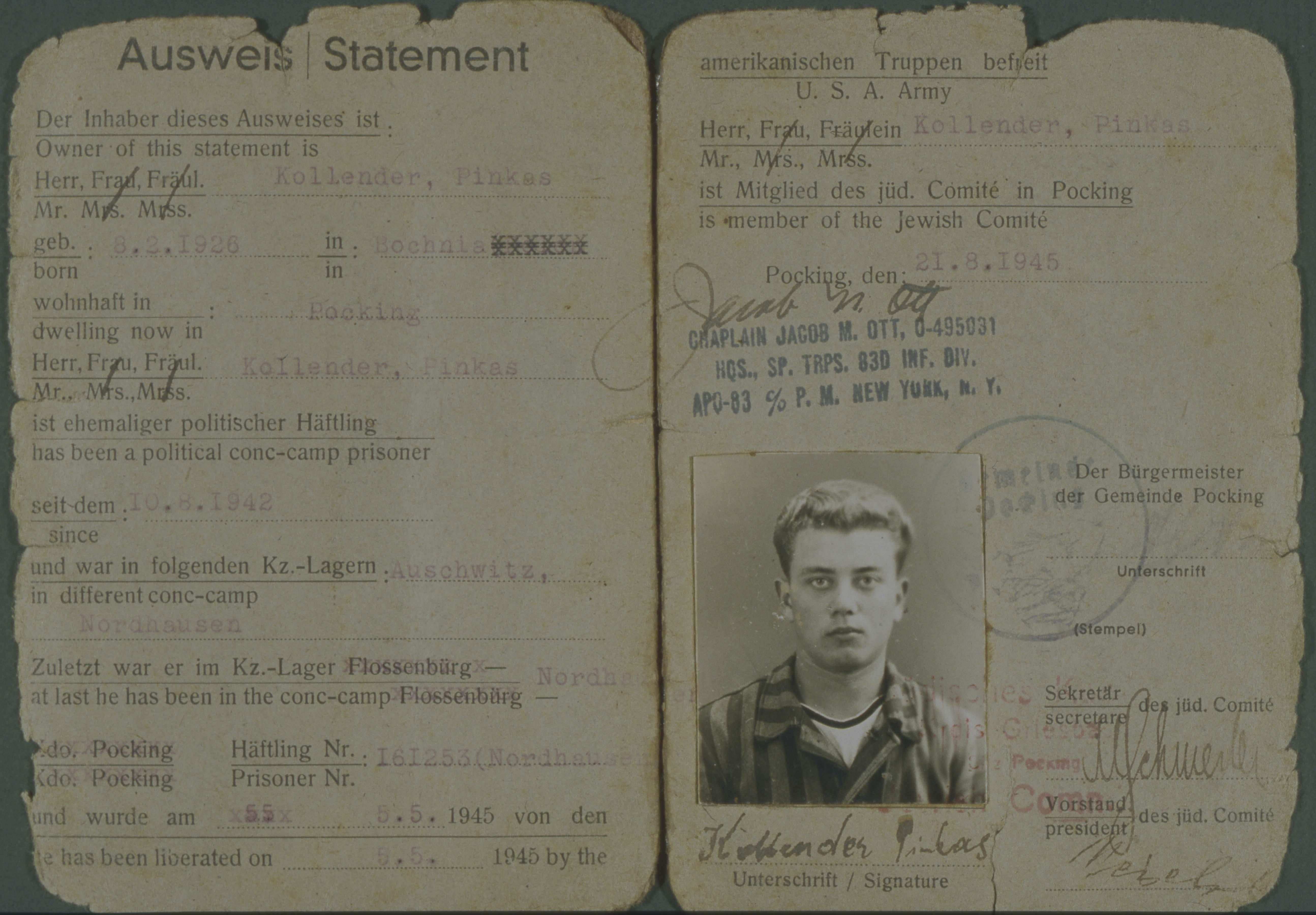 Pincus Kolender - Identification card