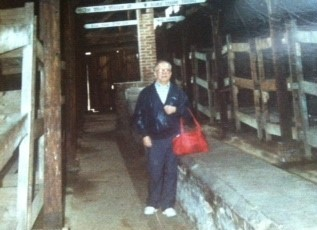 Pincus visiting the barracks where he was held - 1987