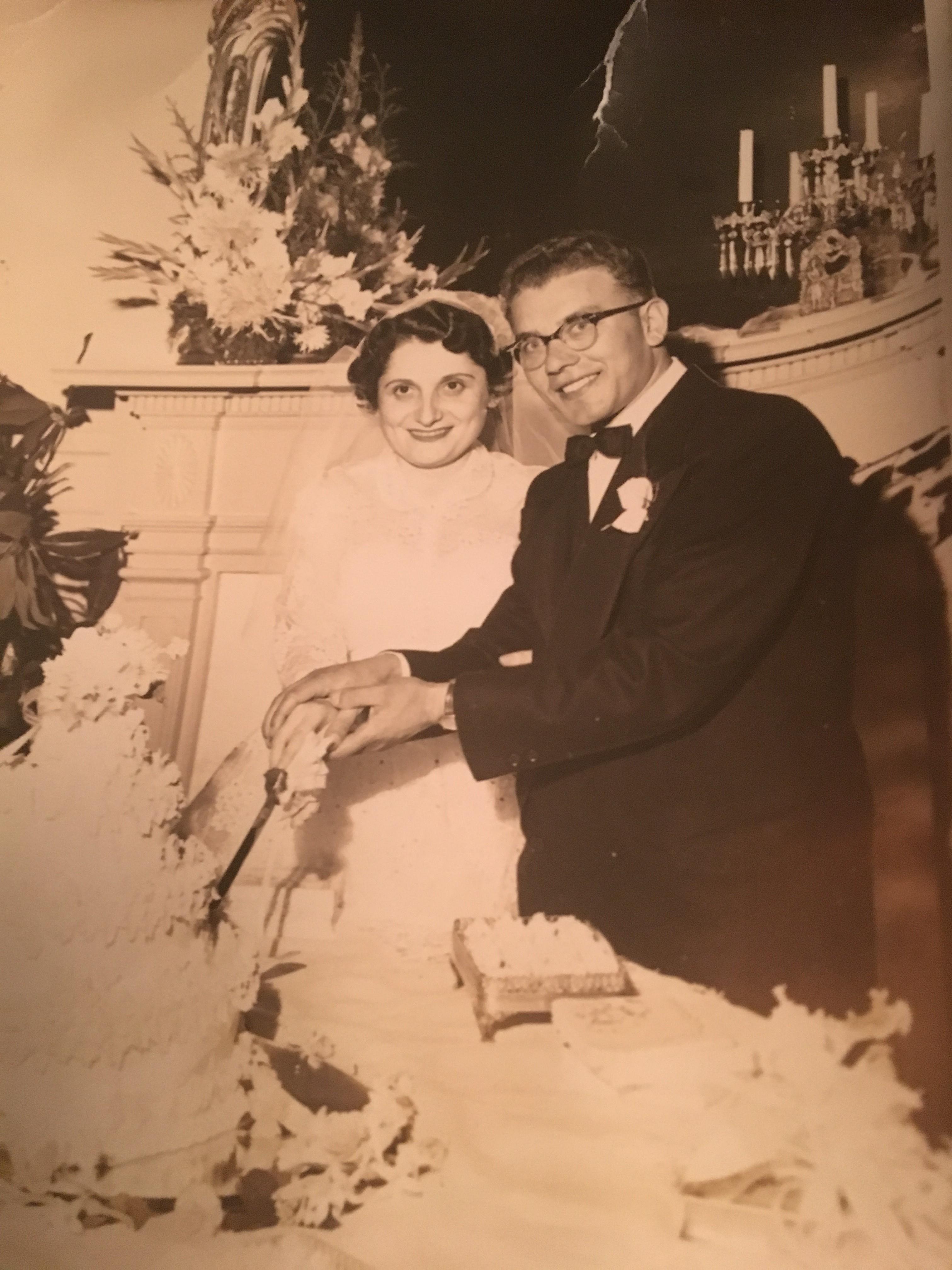 Renee and Pincus Kolender on their wedding day