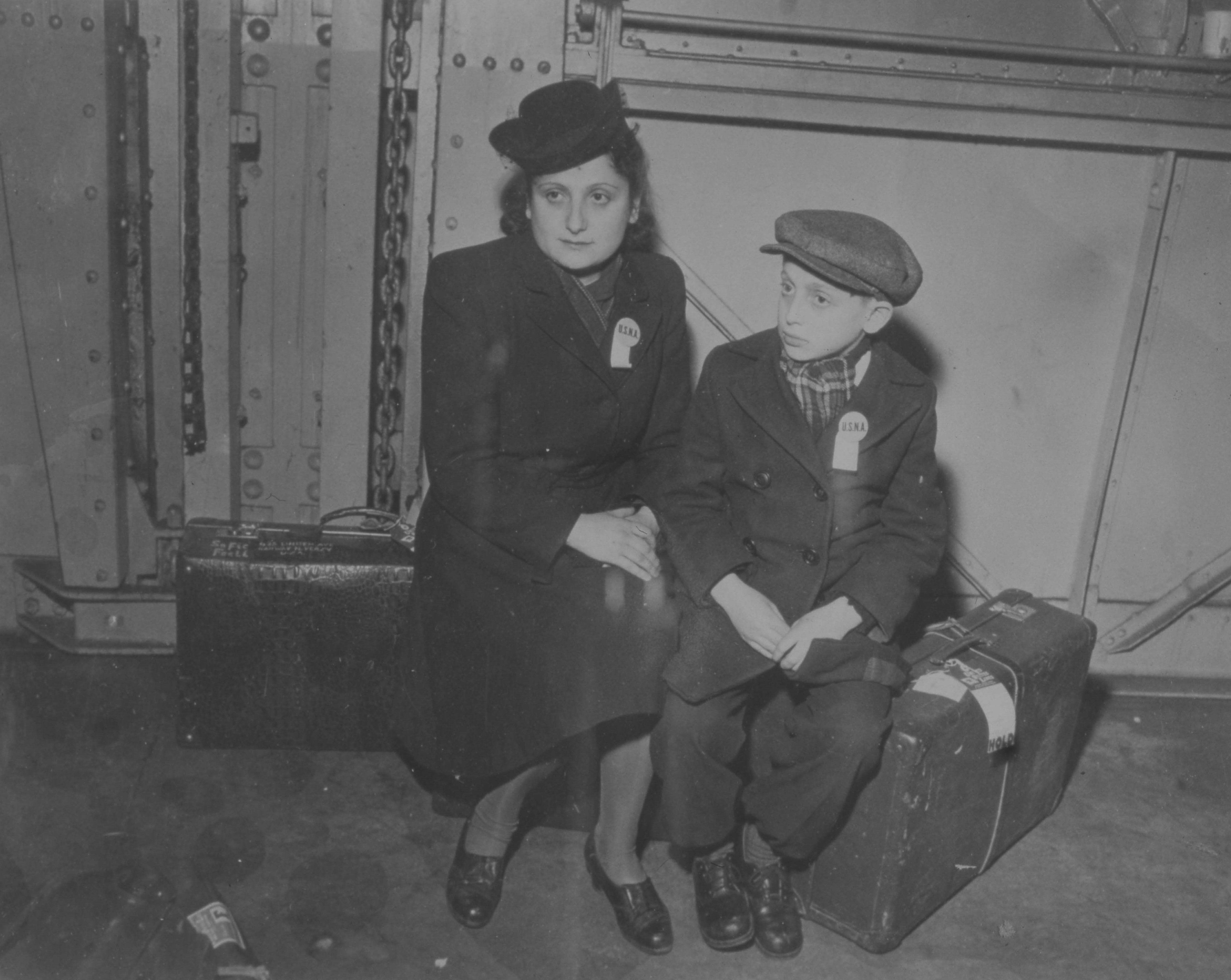 Renee and her brother Michael on a boat to the United States in 1947
