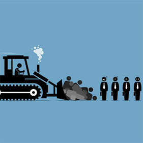 bulldozer running over employees